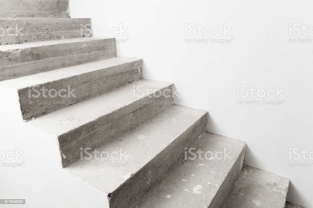 concrete staircase under construction stock photo