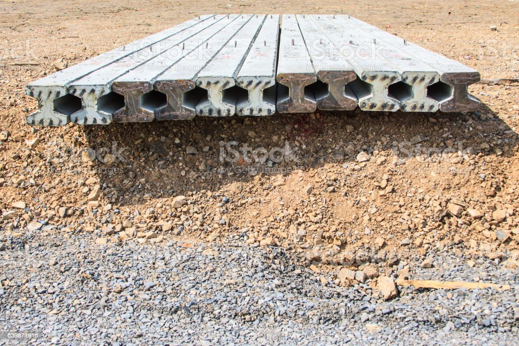 Concrete Stake at construction site, finished concrete pilings stock photo