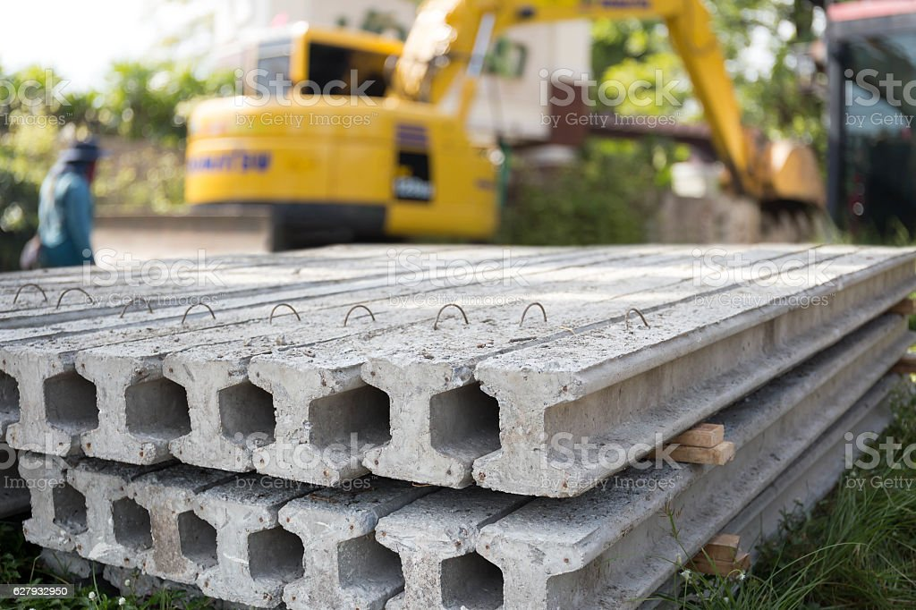 I Concrete Stake at construction site stock photo