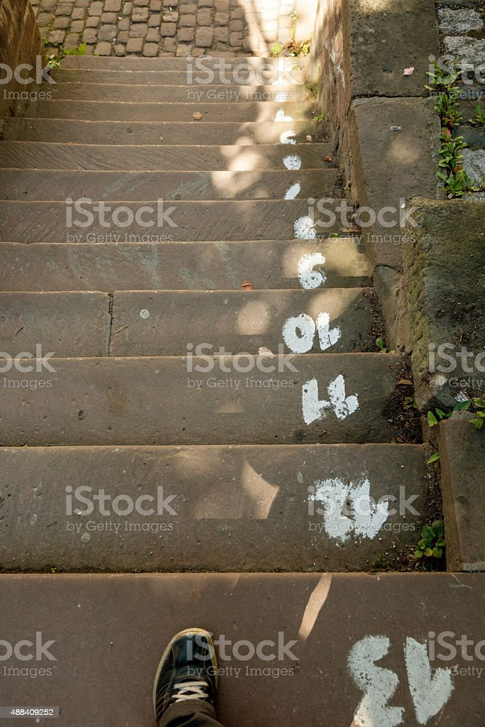 Concrete steps with step numbers stock photo