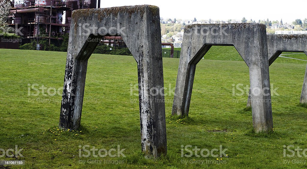 Concrete Supports at Gasworks Park royalty-free stock photo