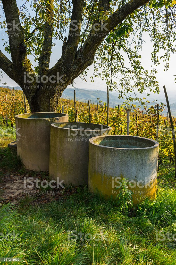 Concrete tanks for collecting water (Langhe, Unesco World Heritage site) stock photo