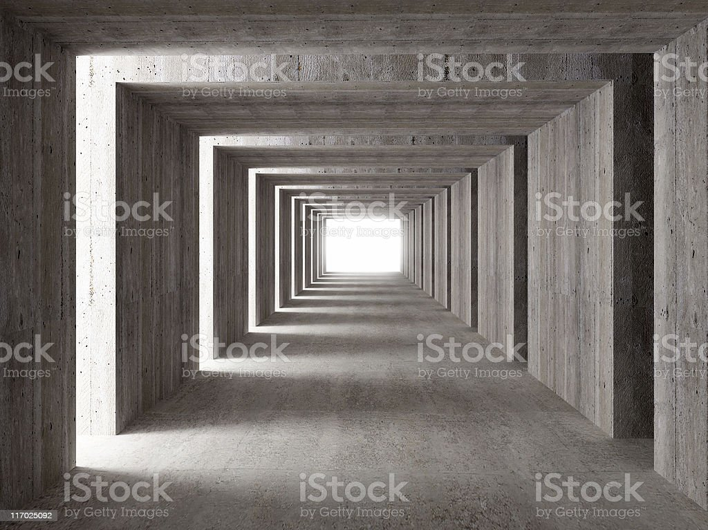 concrete tunnel and lateral lights stock photo