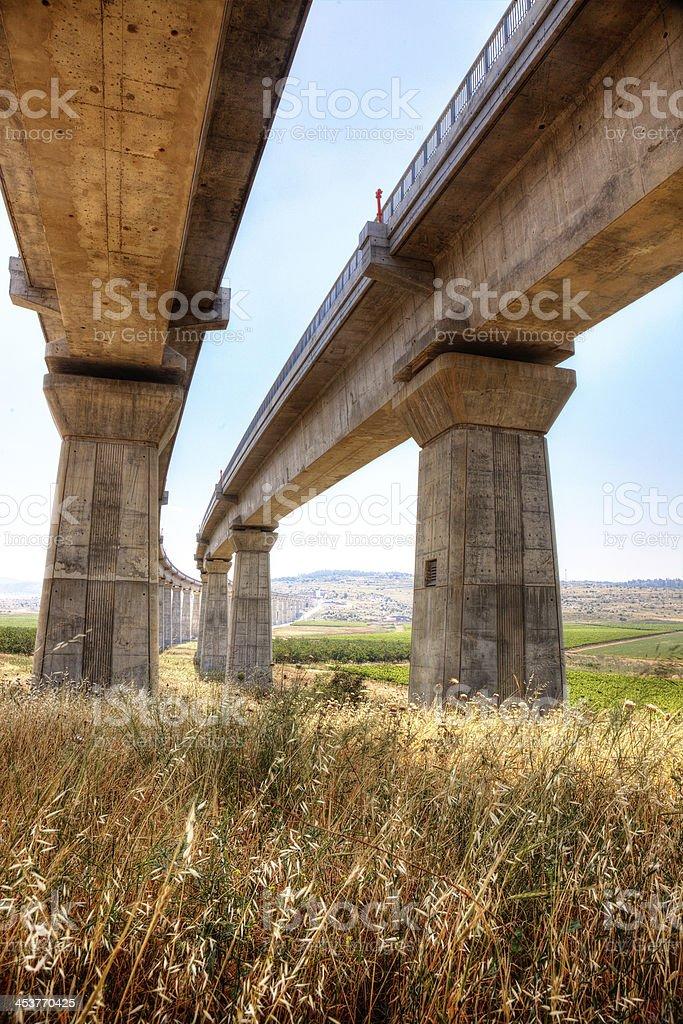 Concrete urban train vridge in th field royalty-free stock photo