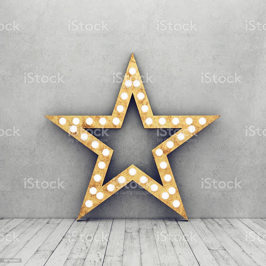 Concrete wall and wooden floor with retro star stock photo