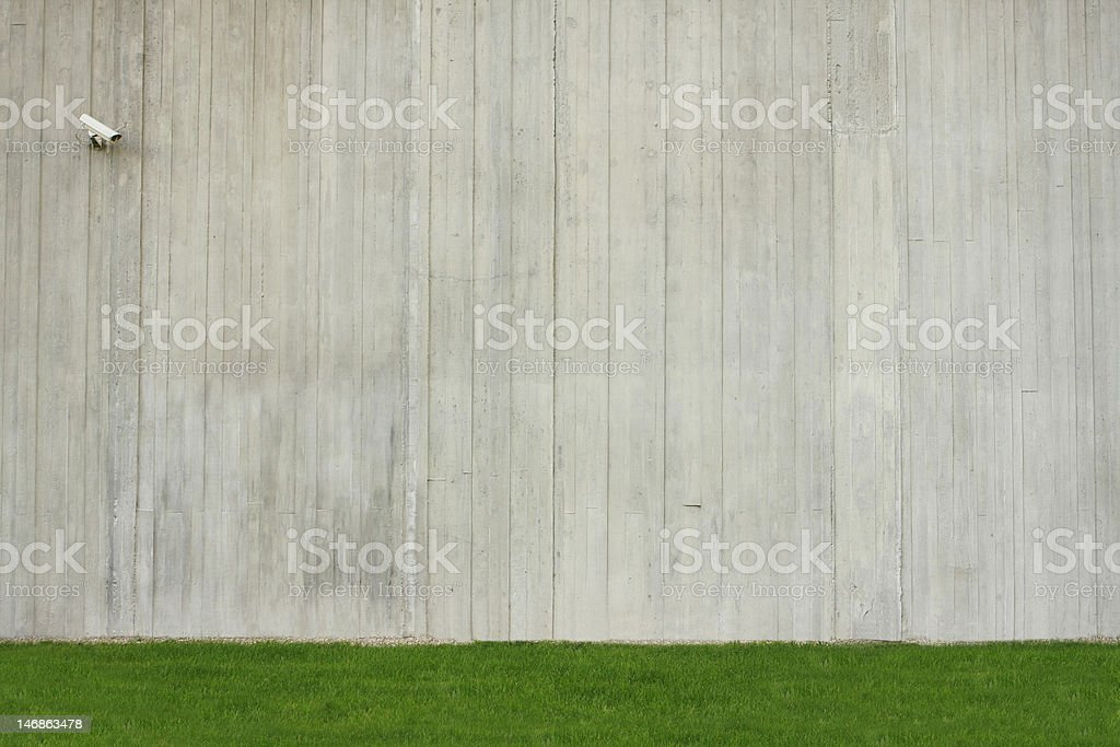 Concrete wall background with green grass royalty-free stock photo