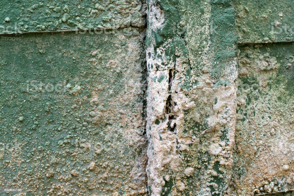 concrete wall pillar degradation stock photo