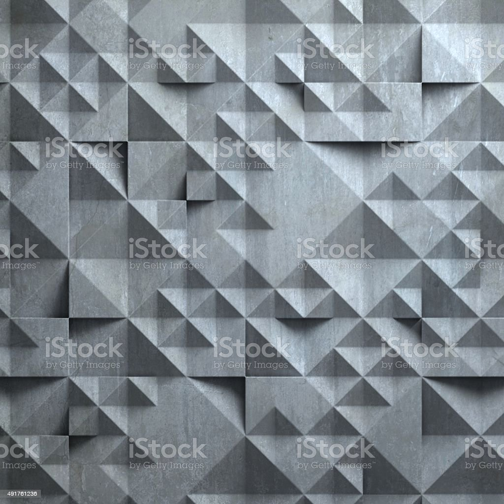 concrete wall with geometrical 3d pattern stock photo
