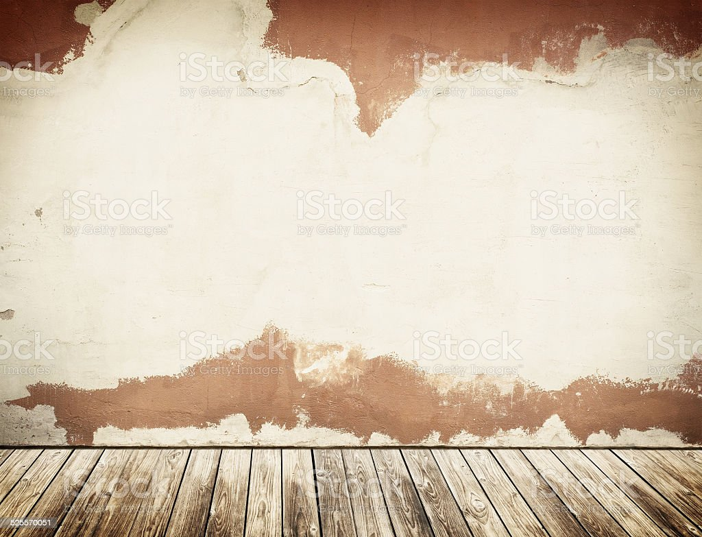Concrete wall with grunge wooden floor. stock photo