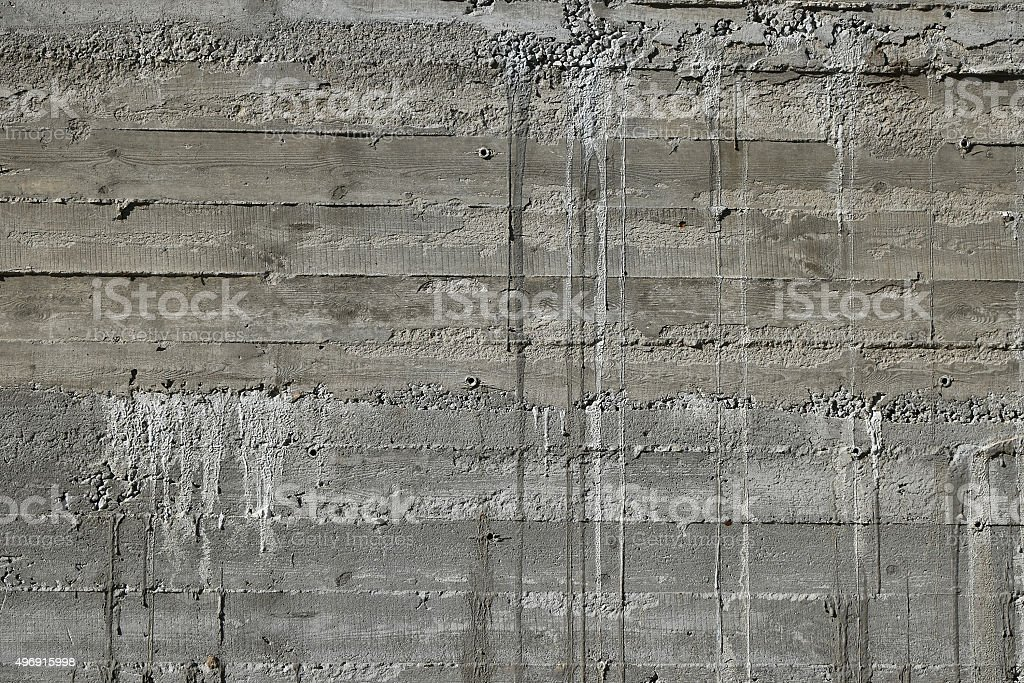 Concrete wall with wooden pattern impress from wooden form board royalty-free stock photo