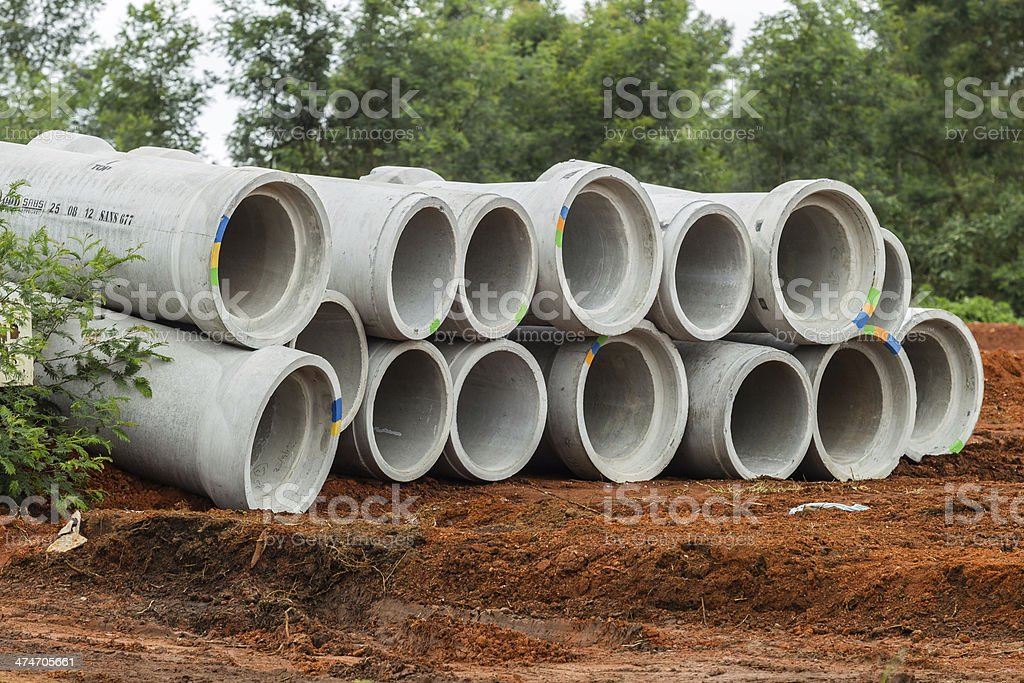 Concrete Water Pipes Stacked stock photo