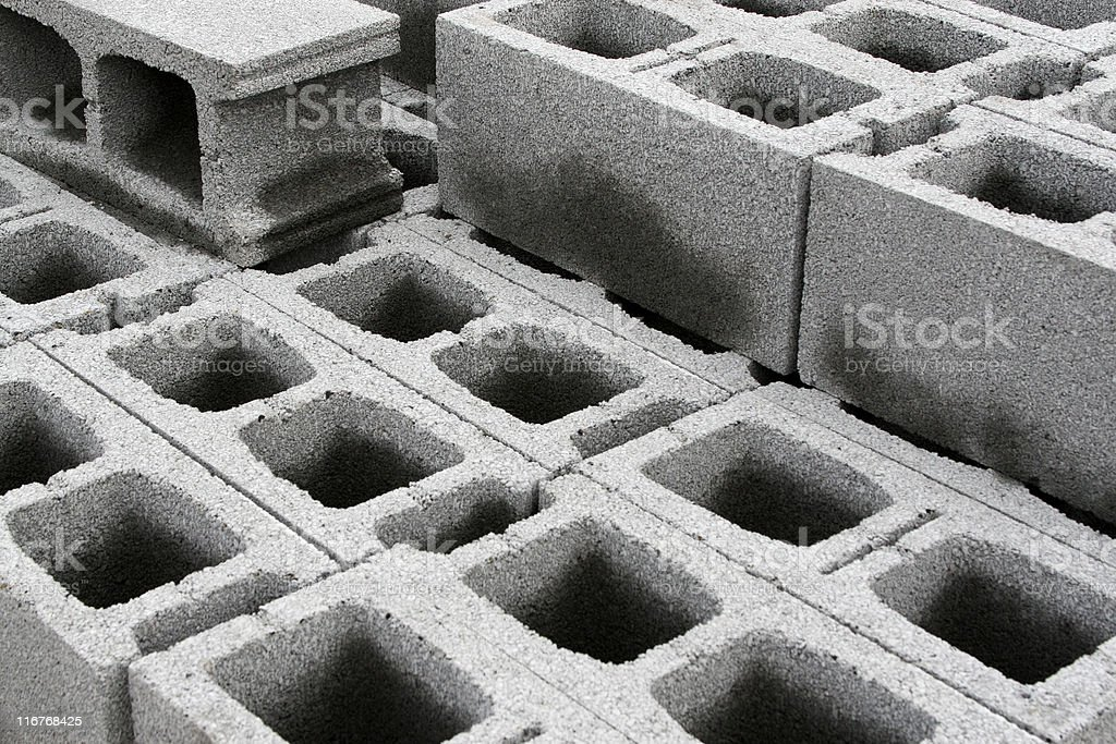 Concrete weight blocks for structure stock photo
