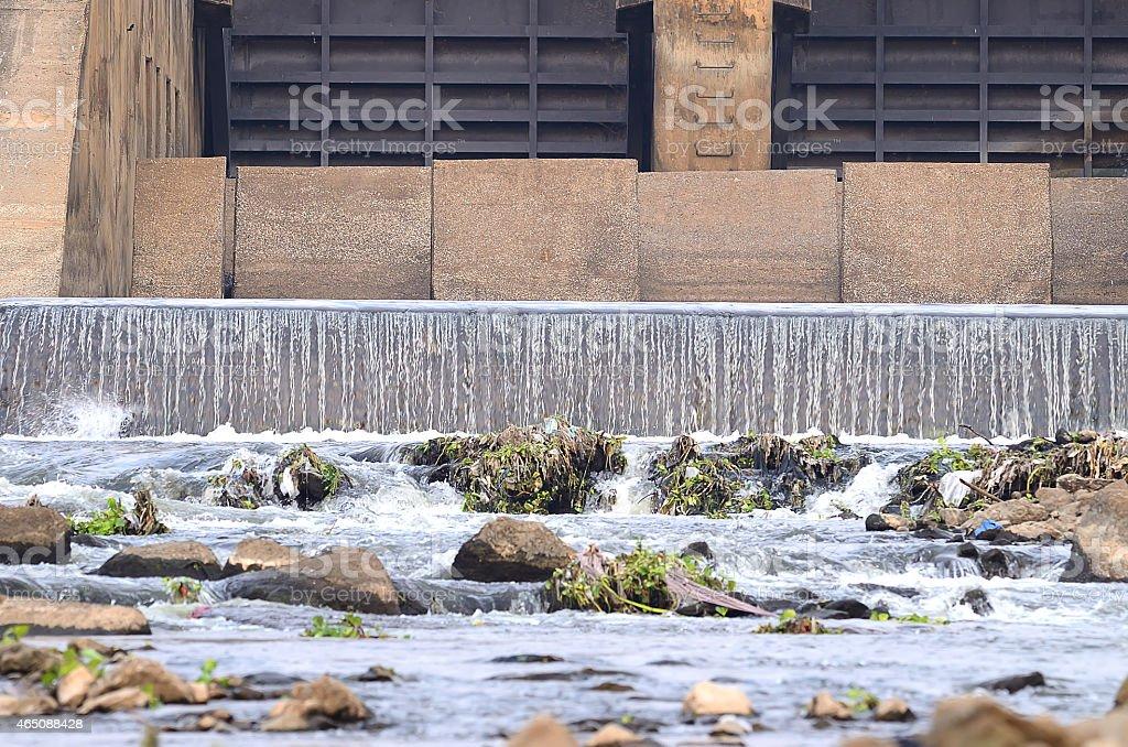 Concrete weir to irrigate stock photo