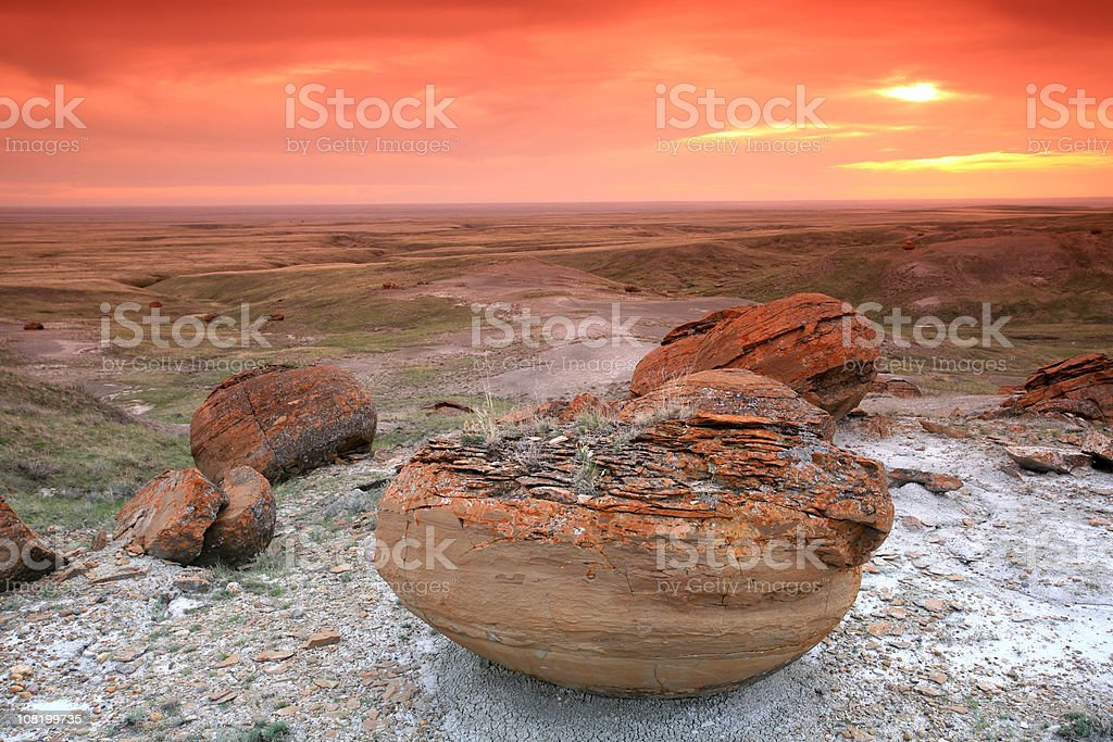 Concretions at Red Rock Coulee With Beautiful Sunset stock photo