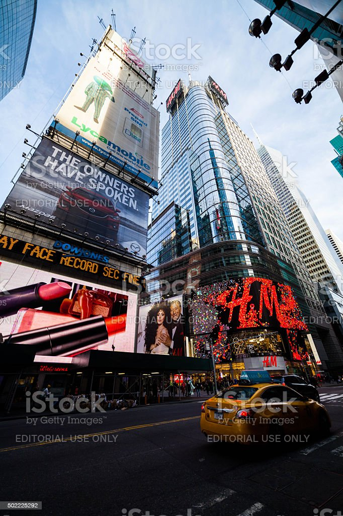 Conde Nast Building and Billboards in Times Square stock photo