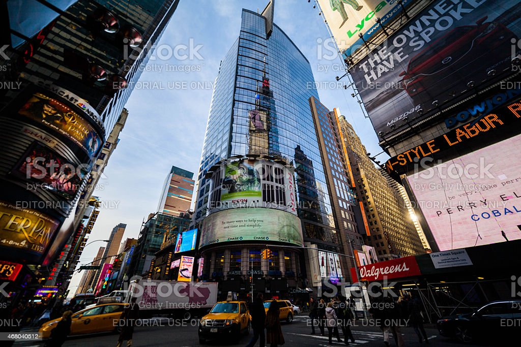 Conde Nast Building in Times Square, NYC stock photo