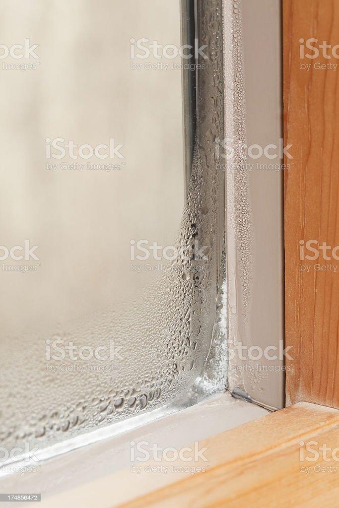 Condensation on Winter Window stock photo