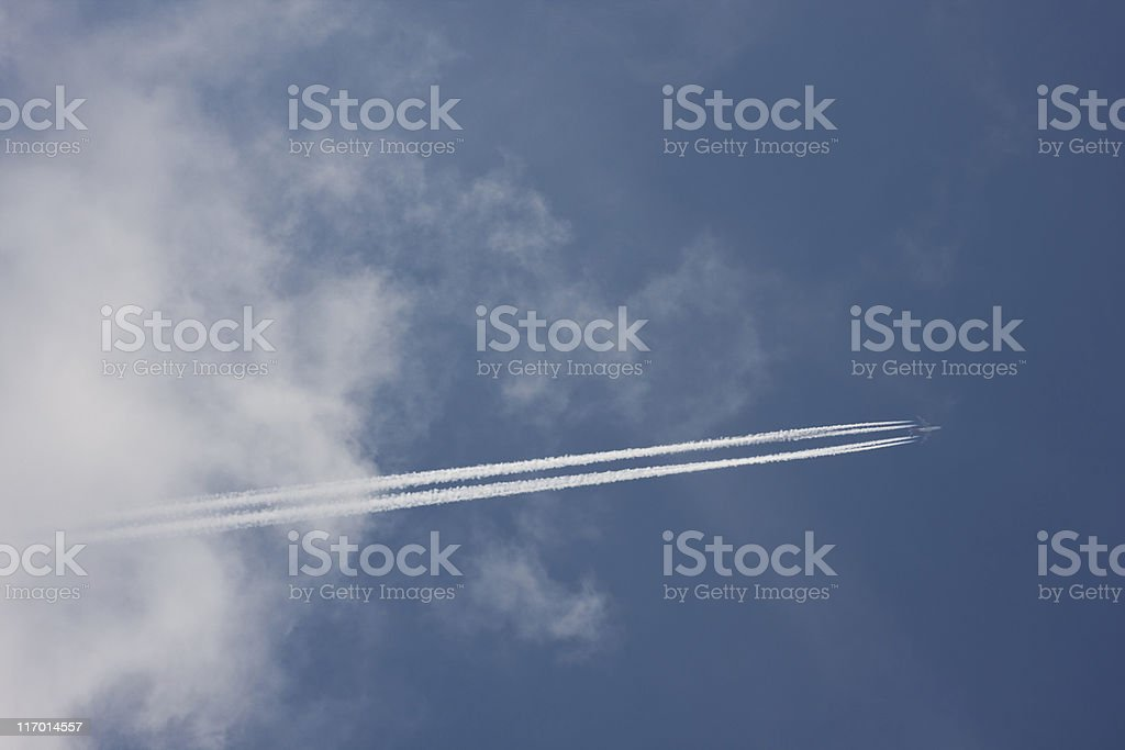Condensation trails royalty-free stock photo