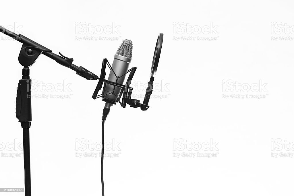 Condenser Mic On Stand In Studio Isolated On White stock photo