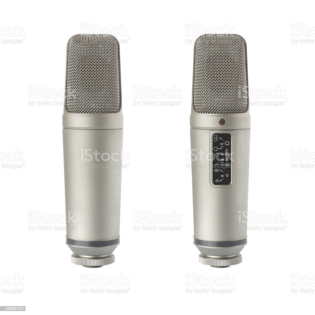 Condenser microphone - back and front view stock photo