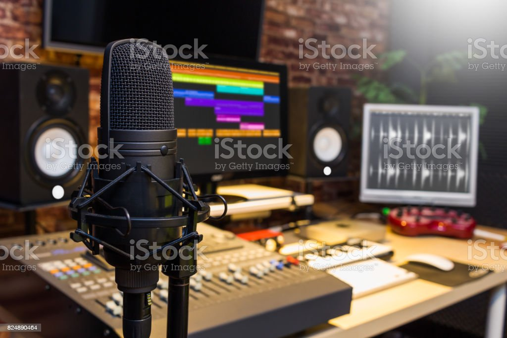 condenser microphone in digital sound editing & recording studio stock photo