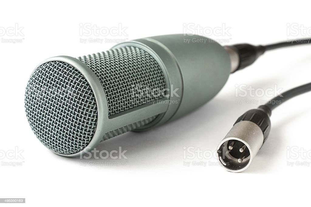condenser microphone isolated on a white background stock photo