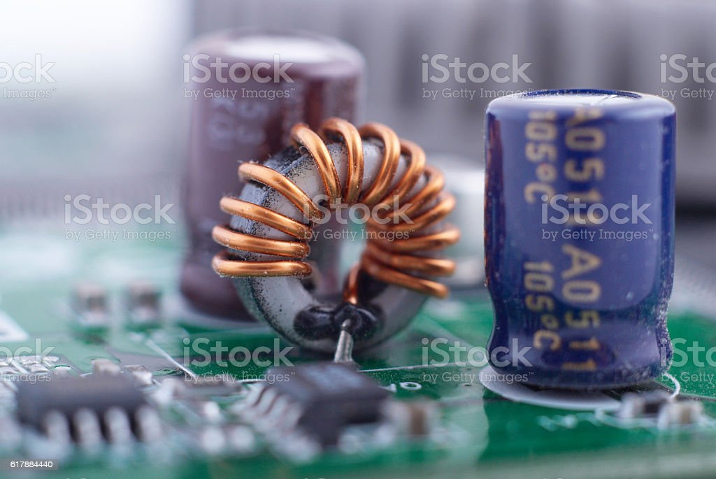condensers and inductance stock photo