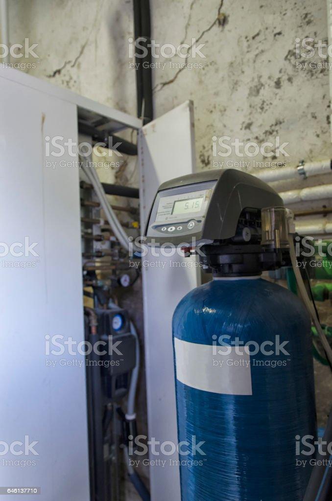 Condensing boiler and softener stock photo