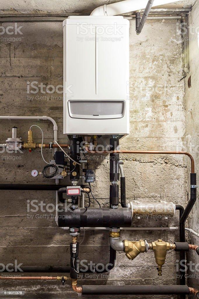 condensing boiler gas in the boiler room stock photo
