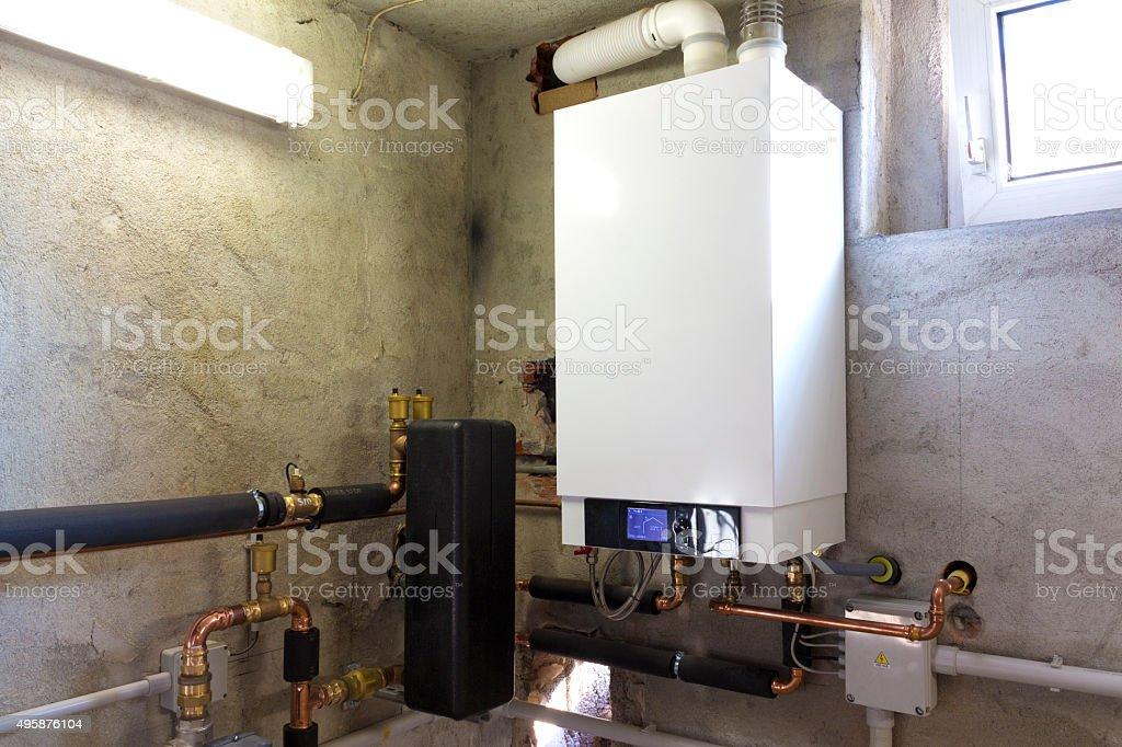 Condensing gas boiler stock photo