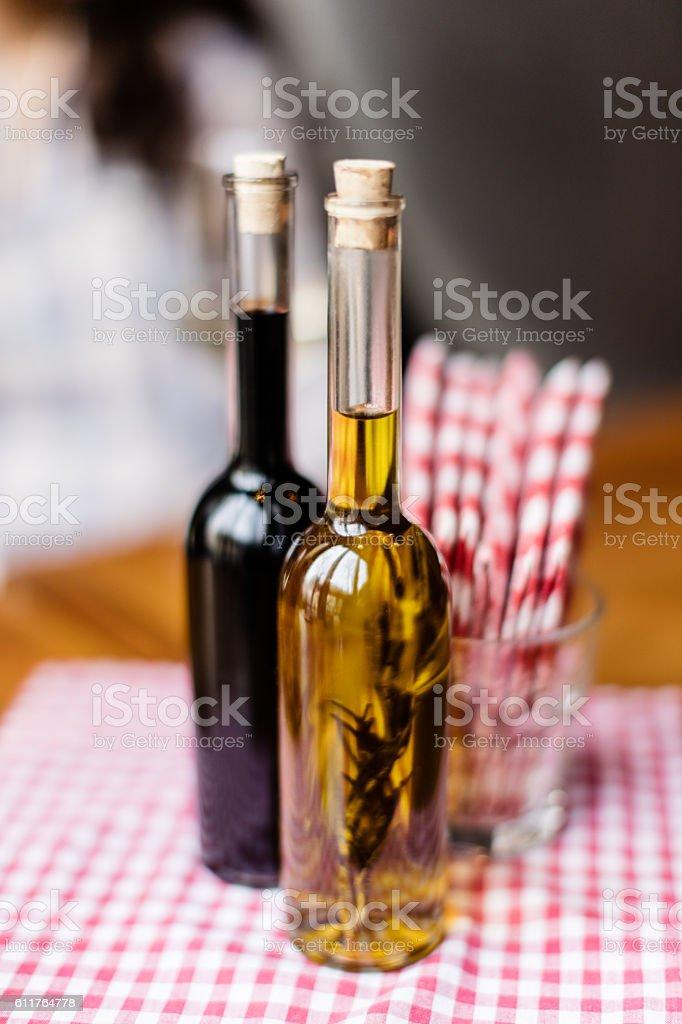 Condiment bottles stock photo