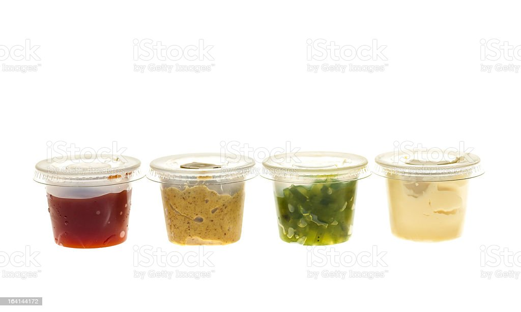 Condiment containers stock photo