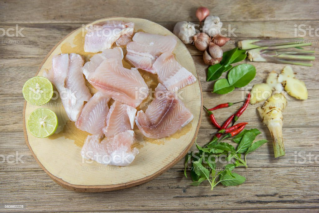 Condiment for spicy Fillet fish soup,Fish Tom yam, stock photo