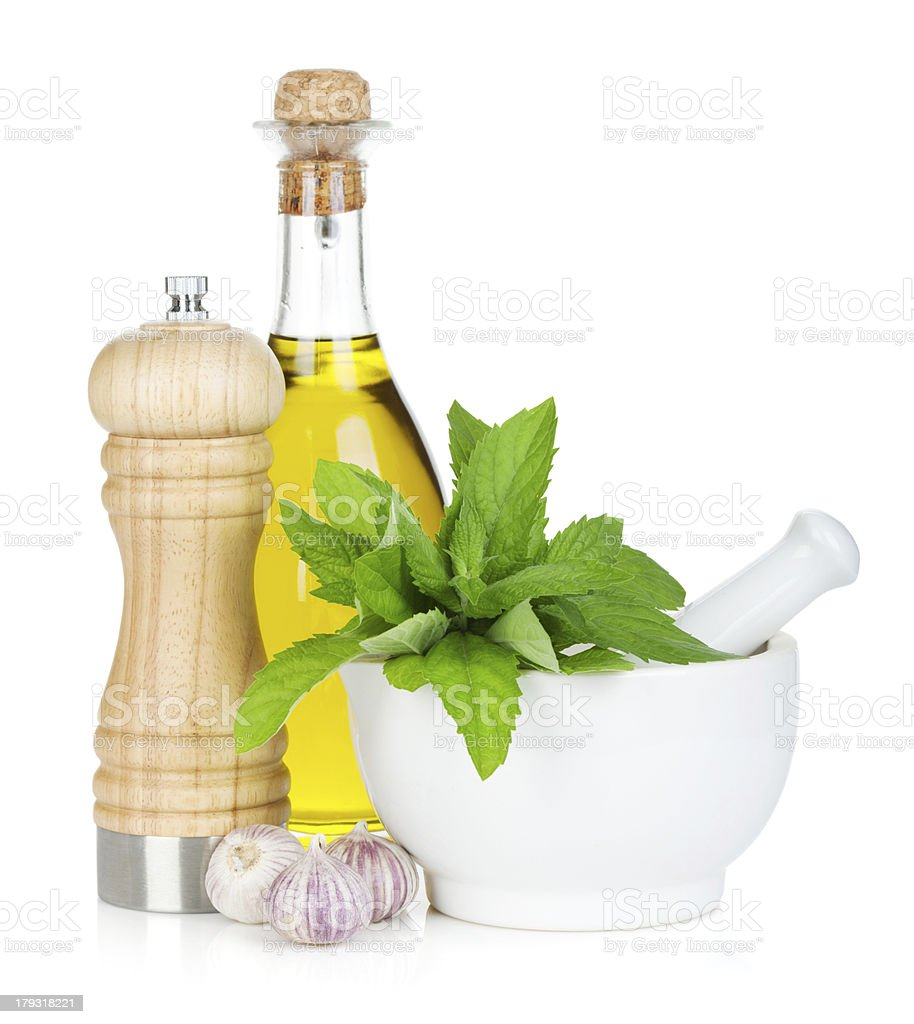 Condiments and herbs stock photo