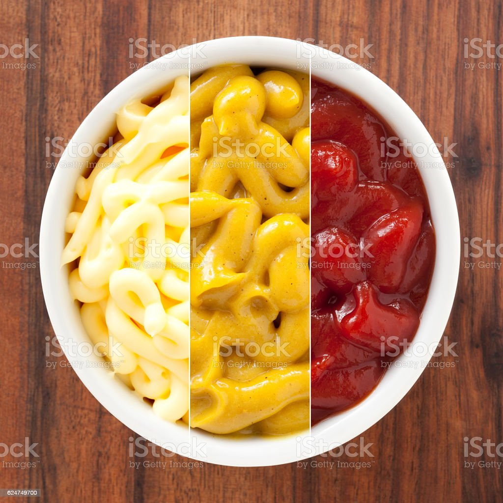 Condiments composition stock photo