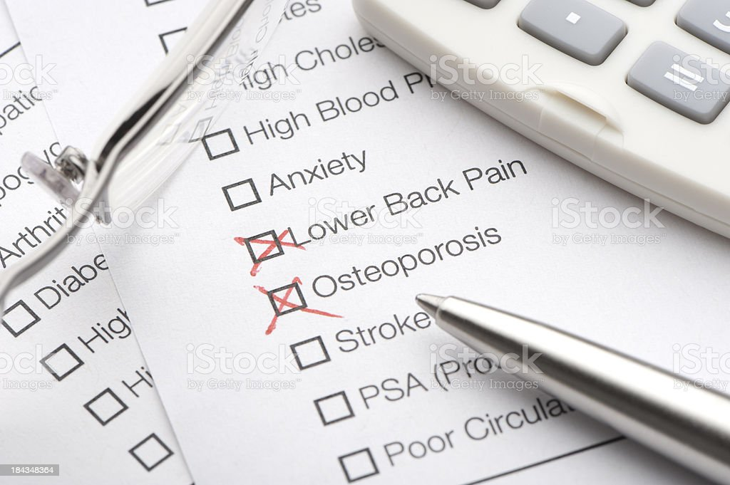 Conditions checked on a medical test royalty-free stock photo