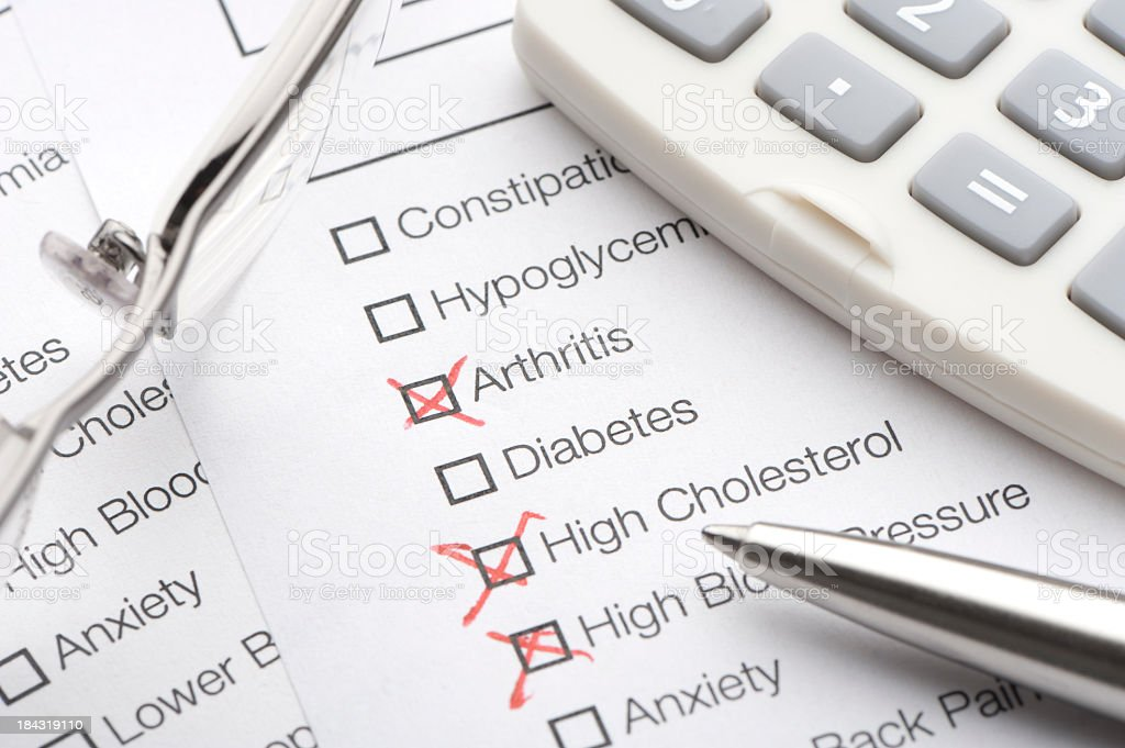 Conditions on a medical test stock photo
