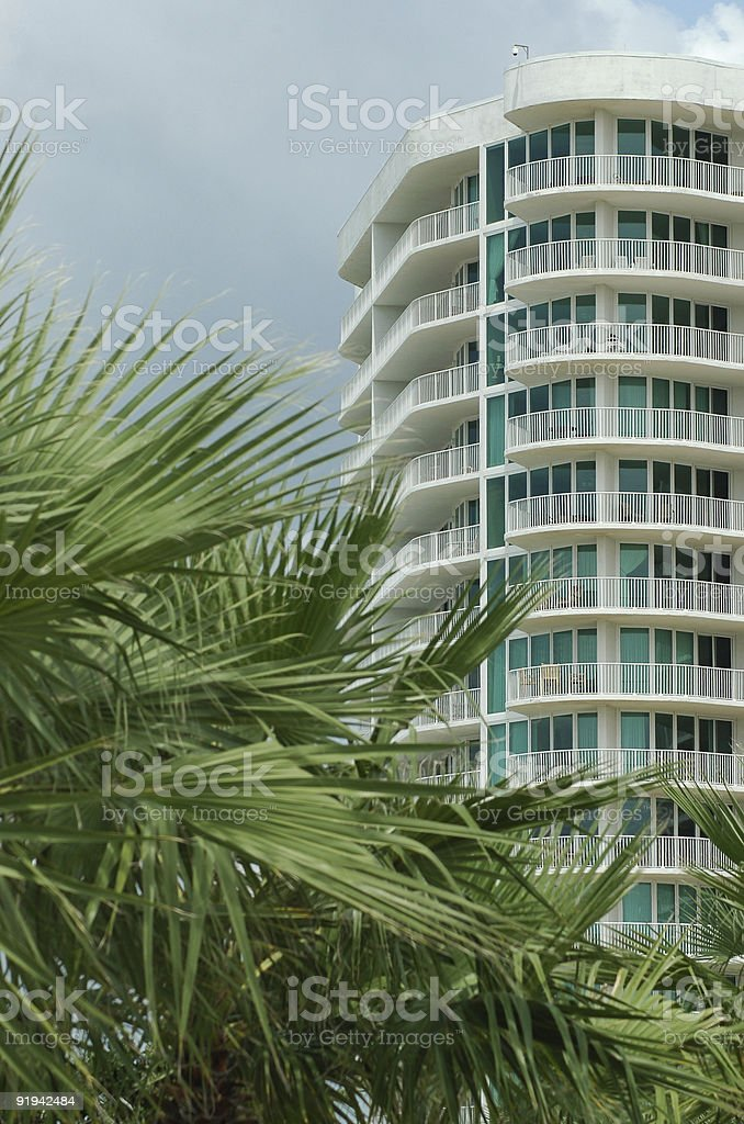 Condo behind palm trees royalty-free stock photo