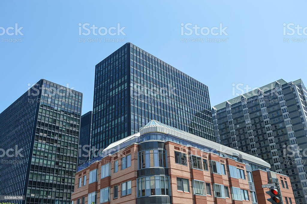 Condo buildings and business skyscrapers stock photo