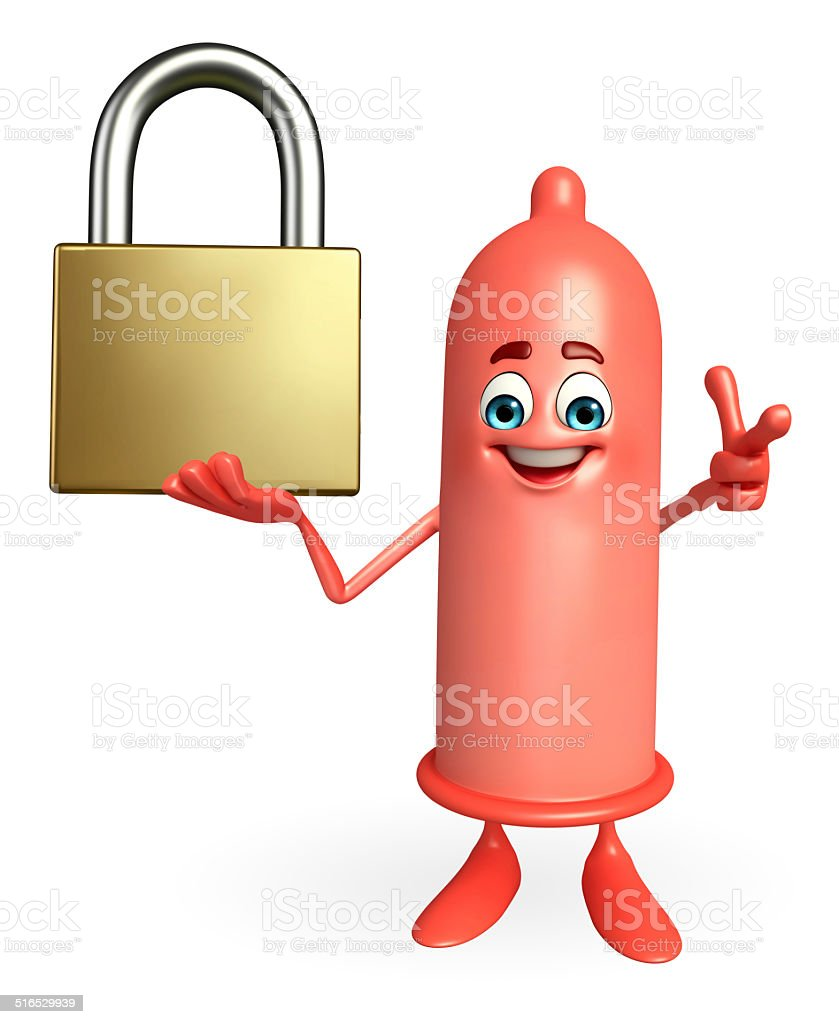 Condom Character with lock stock photo