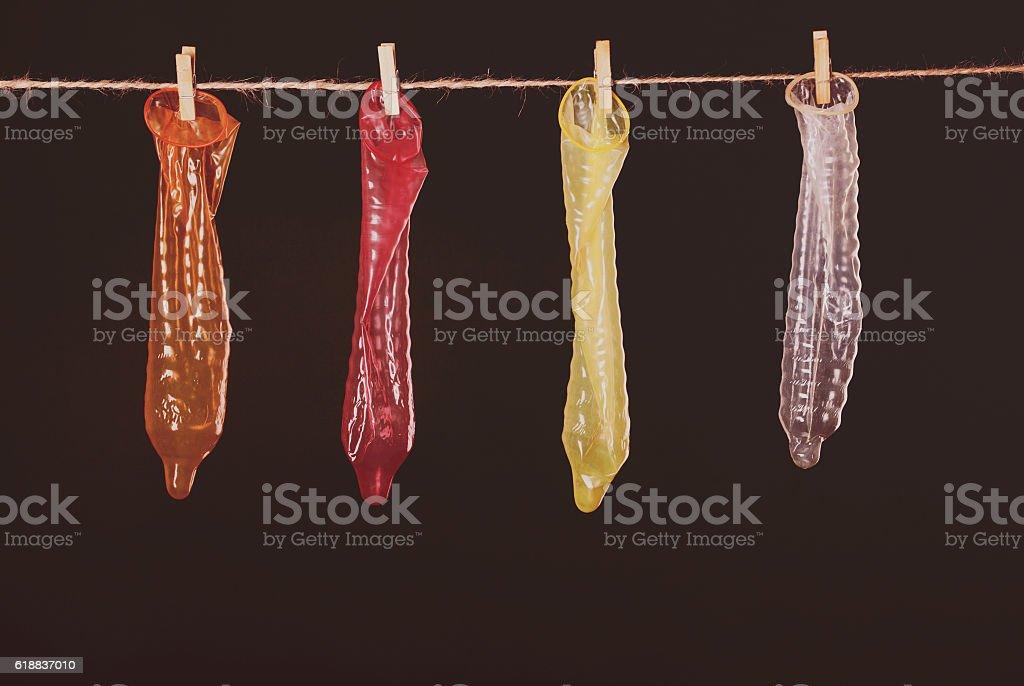 condom hanging stock photo