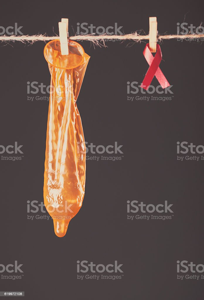 condom hanging stock photo
