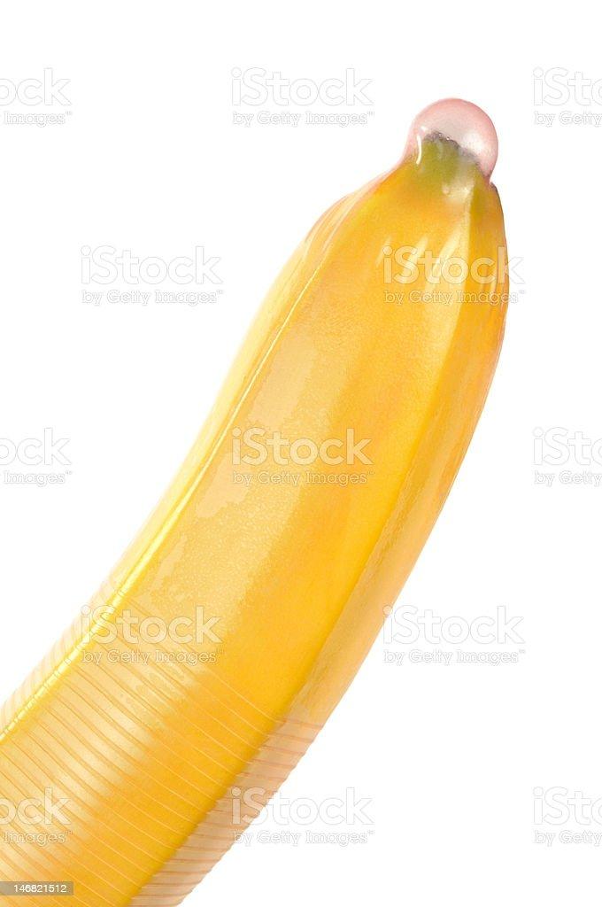 Condom on Banana stock photo