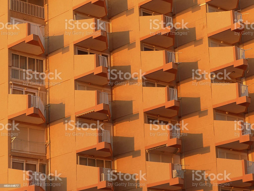 Condominium at sunset stock photo