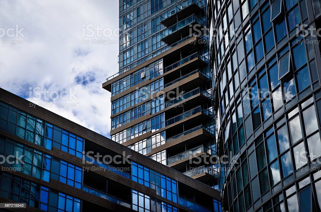 Condominium building with contrasting shapes royalty-free stock photo