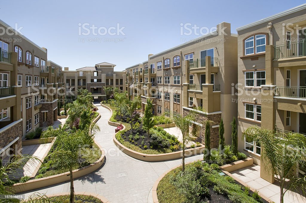 Condominium complex stock photo