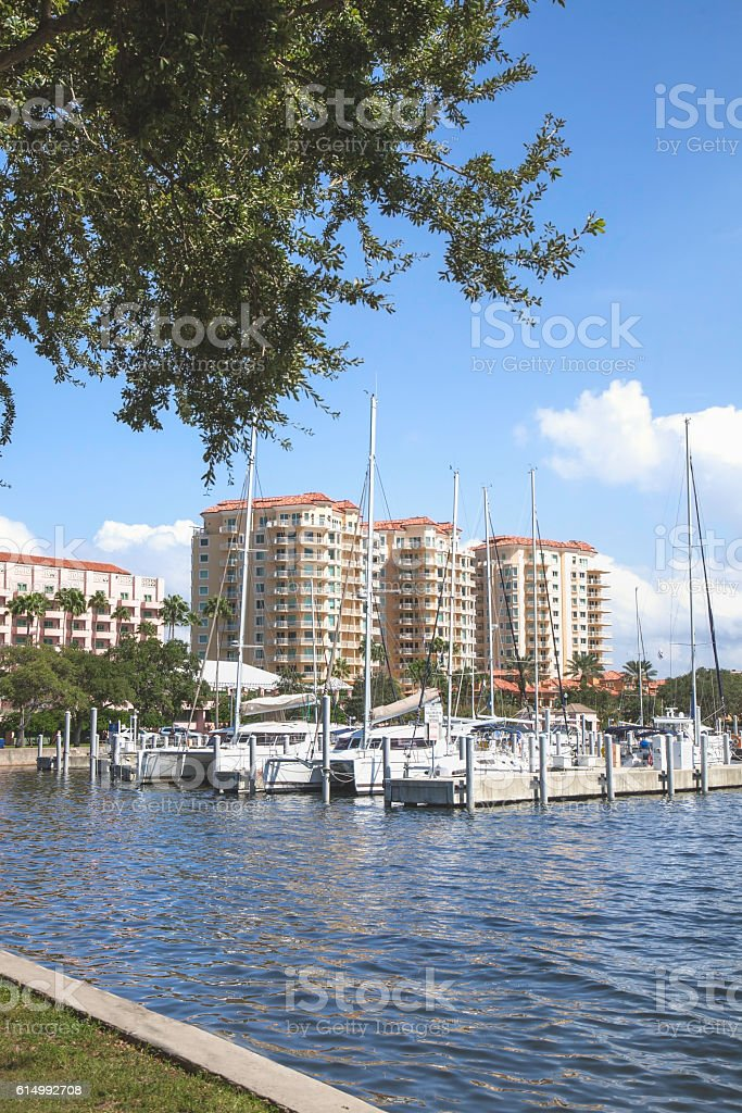 Condominiums overlooking a Marina stock photo