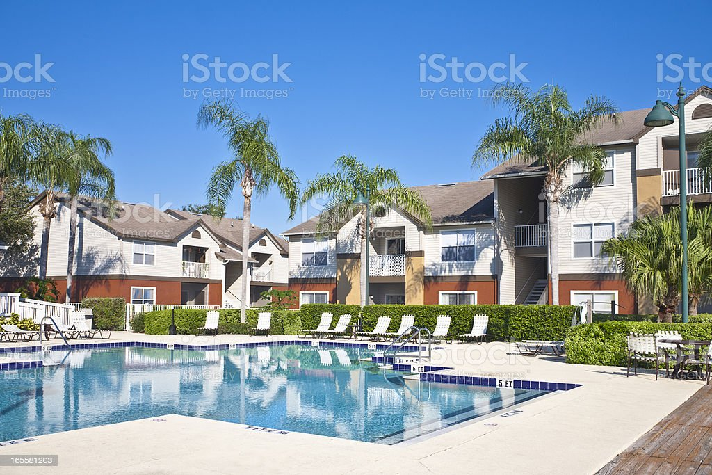 Condominiums with Swimming Pool stock photo