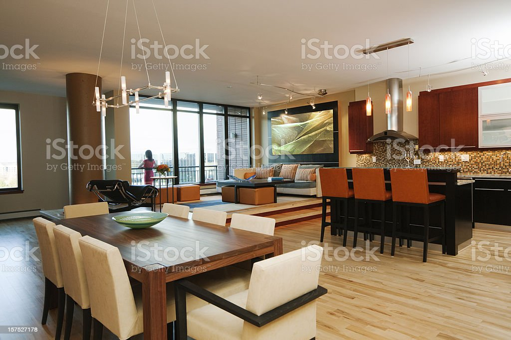 Condomium Apartment, Home Showcase Interior Living and Dining Room, Kitchen royalty-free stock photo