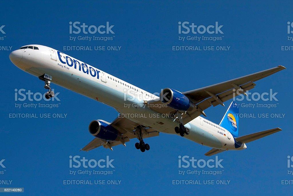Condor 757-300 against a nice blue sky stock photo